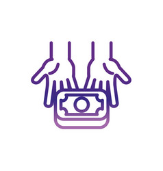 Hands giving money banknote charity help donation vector