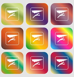 Hang-gliding sign icon Nine buttons with bright vector