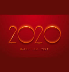 happy new year 2020 minimalist greeting card vector image