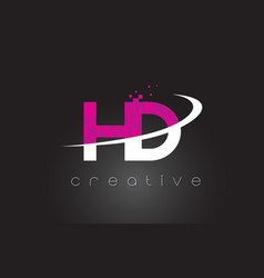 Hd h d creative letters design with white pink vector