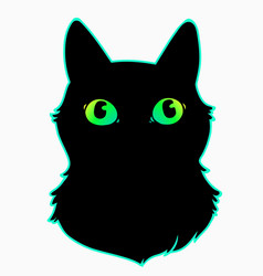 head a black cat with cute colorful eyes vector image