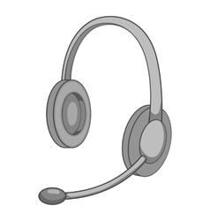 Headphone icon gray monochrome style vector image