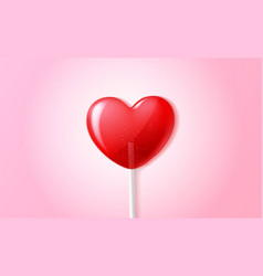 heart lollipop candy 3d valentine day sweet vector image
