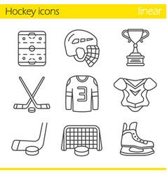 hockey equipment linear icons set vector image