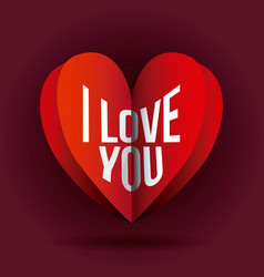 i love you heart romance passion symbol vector image