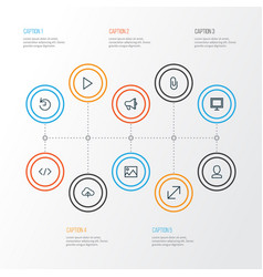 Interface outline icons set collection of history vector