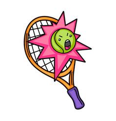Kawaii tennis racket and ball vector