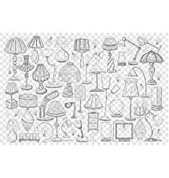 Lamps and shades doodle set vector