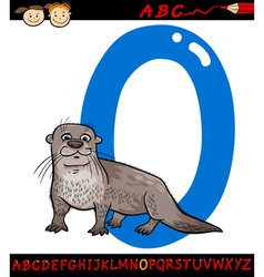letter o for otter cartoon vector image