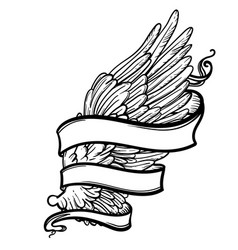 Line art of angel wing and ribbon vector