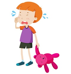 Little boy with a toy crying vector