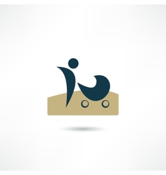 Mother with stroller icon vector