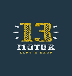 Motor club badge with shabby texture vector