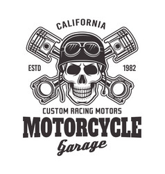 Motorcycle garage biker emblem with skull vector