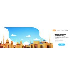 muslim cityscape mosque building religion flat vector image