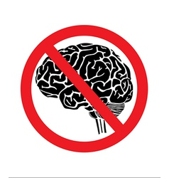 no think with brain vector image