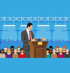 orator speaking from tribune public speaker vector image