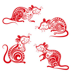ornate rat set chinese new year 2020 year the vector image