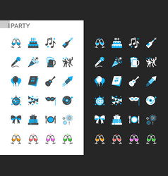 party icons light and dark theme vector image