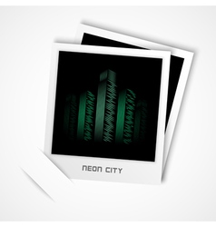 polaroid neon city vector image