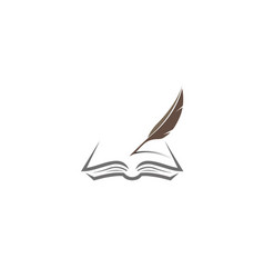 Quill writing book papers on an open vector