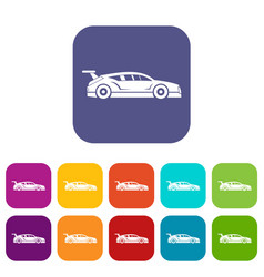 Rally racing car icons set vector