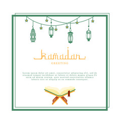 Ramadan kareem greeting card with space for text vector