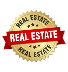 Real estate round isolated gold badge vector