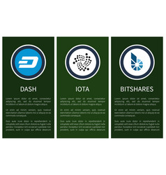 round cryptocurrency symbols on promo posters vector image