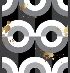 seamless pattern black white circles gold spatter vector image
