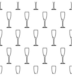 seamless pattern from icon glass of champagne vector image