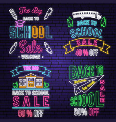 set back to school sale neon design emblem vector image
