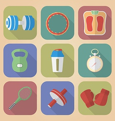 Set of Fitnes Icons Modern flat style vector