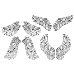 Set of four different angel wings vector image