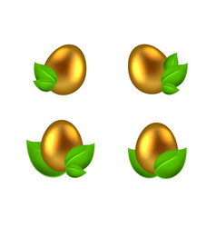 Set of golden eggs in green leaves vector