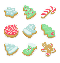 set of isolated winter christmas cookies vector image