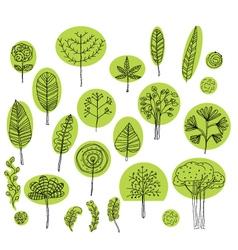 set of trees symbolssketch of tree pattern vector image