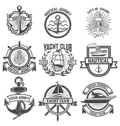 Set of yacht club labels nautical design elements vector