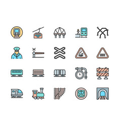 set railways flat color line icons funicular vector image