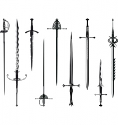 silhouette collection of swords vector image