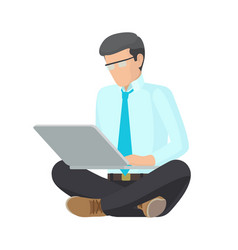 sitting man with grey laptop colorful poster vector image