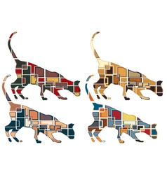 Sniffing cat mosaics vector image