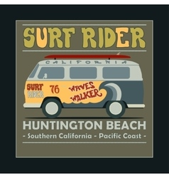 Surfing t-shirt graphic design Vintage Retro Surf vector