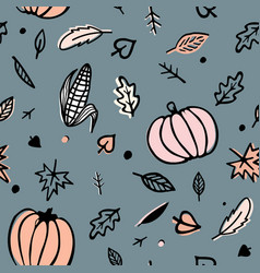 Thanksgiving day seamless pattern with corn cobs vector