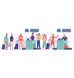 tourists group passengers travellers luggage vector image