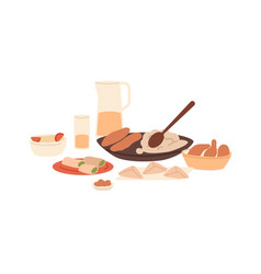 Traditional arabian meal served muslim dishes vector