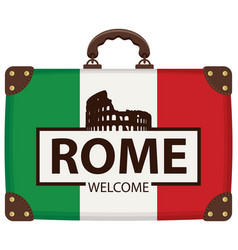travel suitcase with italian flag and colosseum vector image
