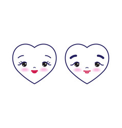 two cute cartoon hearts with male and female face vector image