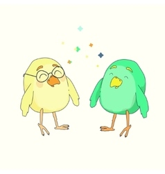 Two little funny birds vector