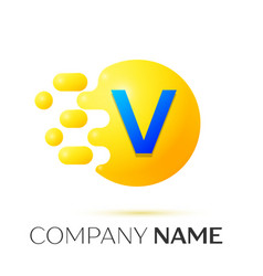v letter splash yellow dots and circle bubble vector image